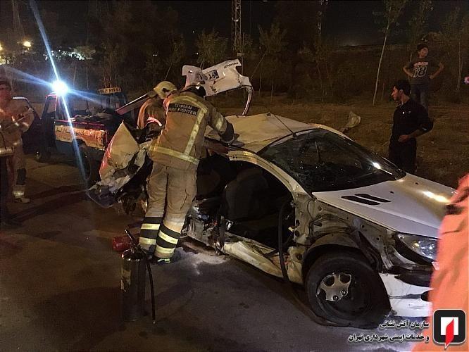 تصادف شدید 4 خودرو در بزرگراه تهران -کرج +تصاویر