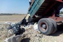 تریلرهای حامل پسماندهای صنعتی در بوئین زهرا متوقف شدند