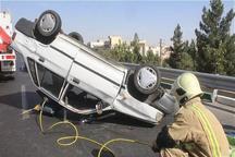 واژگونی پراید در تهران یک مصدوم برجا گذاشت