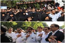 وزیر بهداشت و تکنیسینهای اورژانس در مراسم تشییع پیکر ۱۳۵ شهید گمنام دفاع مقدس