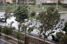آسمان قزوین با وزش باد شدید همراه است