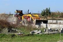 تخریب یک بنای غیر قانونی در اراضی کشاورزی شهرستان البرز
