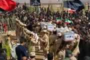 تشییع و خاکسپاری 2 شهید گمنام در شهرستان درمیان