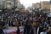 راهپیمایی با شکوه یوم الله 22 بهمن در شهرستان شادگان برگزار شد