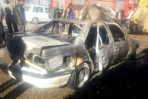 یک خودرو سواری در نجف آباد آتش گرفت