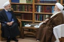 رئیس جمهور با آیتالله مکارم  شیرازی دیدار کرد