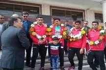 آیین استقبال از سرمربی و بازیکنان تیم ملی فوتبال ساحلی قهرمان آسیا در یزد