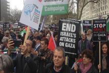 تصاویر/ فریاد «فلسطین را آزاد کنید» در خیابان های لندن