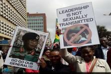 تظاهرات ضدموگابه+ تصاویر