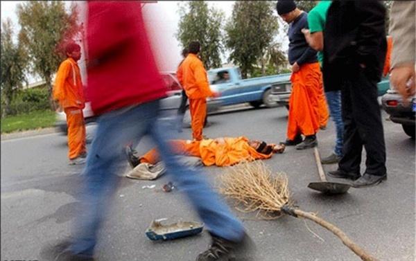 جان باختن یک پاکبان در رشت حین انجام ماموریت در خیابان