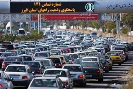 ترافیک سنگین در آزادراه های البرز  لغزندگی جاده چالوس