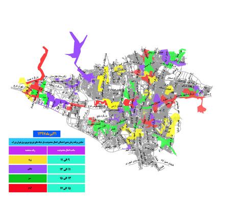 برنامه احتمالی قطع برق پایتخت برای امروز ۲۱ تیرماه+ نقشه