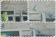 تخریب سازه بتنی غیرمجاز در عرصه قلعه تاریخی ماکو