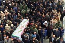 پیکر شهید حادثه تروریستی نیکشهر در زاهدان تشییع وخاکسپاری شد