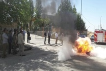برگزاری مانور آتش نشانی در شهرک صنعتی دورود