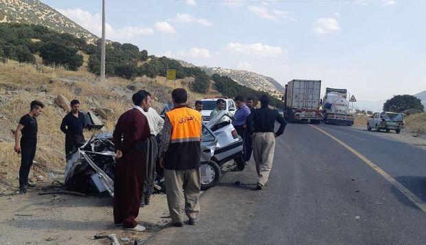 تصادف در محور مریوان - سروآباد یک کشته بر جا گذاشت
