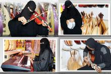 تصاویر عجیب از زنان عربستان/ نواختن ویولن و تمبک با چادر و برقع!