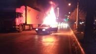 نشست گاز ، پژو 405 را در قائمشهر به آتش کشید