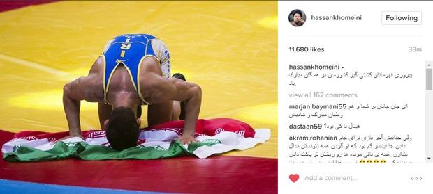 سید حسن خمینی پیروزی قهرمانان کشتی گیر کشورمان را تبریک گفت