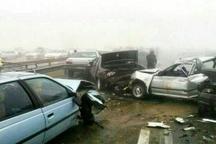 تصادف زنجیرهای 30 خودرو در جاده تبریز - اهر