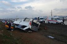 واژگونی اتوبوس در اتوبان زنجان - قزوین 24 مصدوم برجا گذاشت