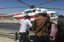 اعزام بالگرد برای نجات هفت مصدوم واژگونی خودرو در آزادراه خرم آباد پل زال