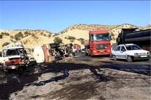 واژگونی نفت کش عراقی جاده پلدختر - دره شهر را بست