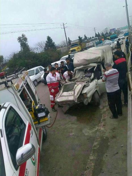 تصادف در جاده نوشهر - رویان منجر به مرگ 2نفر شد