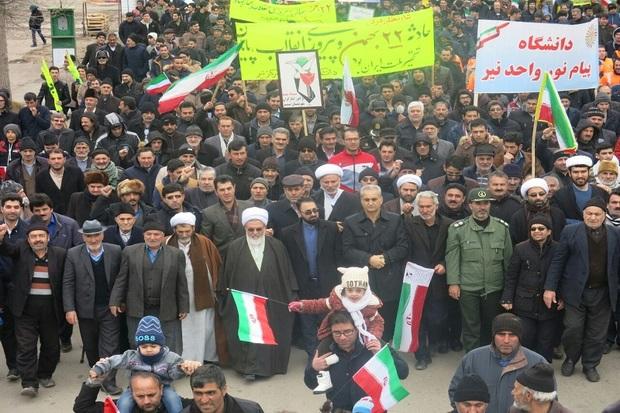 راهپیمایی با شکوه 22 بهمن در شهر نیر برگزار شد