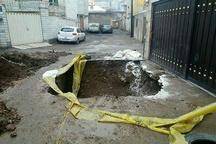 مرمت نشست زمین در محلات مختلف قزوین