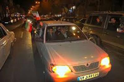 هواداران تیم فوتبال ایران در شهرکرد جشن صعود گرفتند