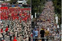 صف آرایی موافقان و مخالفان مادورو+ تصاویر