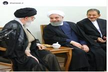 عکسی از خوش و بش مقام معظم رهبری با حسن روحانی و اسحاق جهانگیری