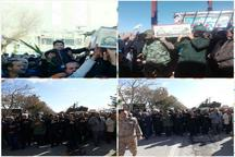پیکر مطهر چهار شهید گمنام در غرق آباد و زاویه تشییع شد