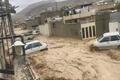 جاری شدن سیل در محله سعدی شیراز