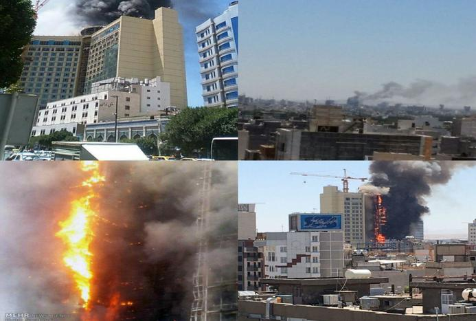 آتش سوزی در هتلی 20 طبقه در مشهد + عکس و فیلم