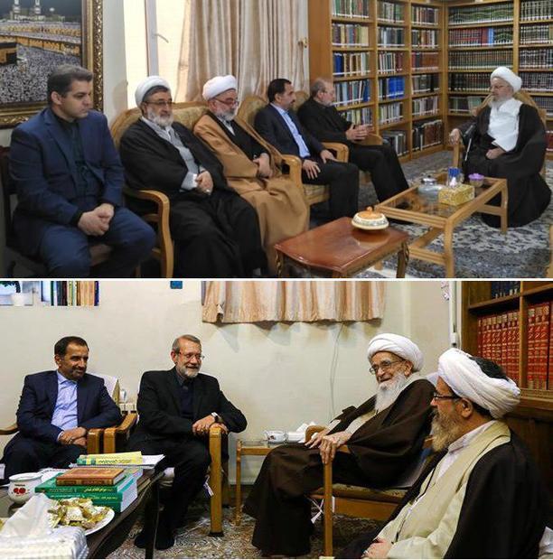 لاریجانی با آیات مکارم شیرازی و صافی گلپایگانی دیدار کرد