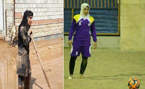 سهیلا لرستانی، بازیکن شهرداری بندرعباس در حال کمک به سیل زدگان+ عکس