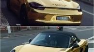 پورشه طلا با پلاک ایران در لس آنجلس/ عکس