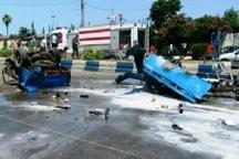 انفجار مهیب نیسان باری در رودسر و کشته شدن دو نفر