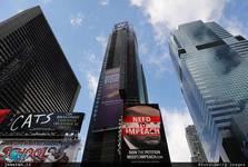 تبلیغات «استیضاح ترامپ» بر روی آسمان خراشهای آمریکا+ تصاویر