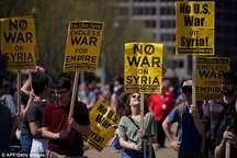 تظاهرات در مقابل کاخ سفید در اعتراض به حمله به سوریه+ تصاویر