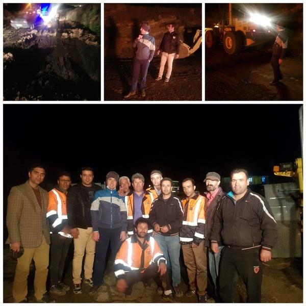 عملیات شبانه بازگشایی محور اسماعیل آباد-الولک+فیلم