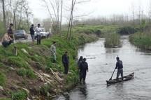 پاکسازی ادوات صید غیرمجاز از رودخانه شلمانرود لنگرود