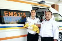نوزاد عجول داخل آمبولانس در اورژانس 115 ایرانشهر به دنیا آمد