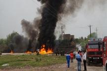 آتش سوزی خط انتقال بنزین در اندیمشک خسارت جانی نداشت