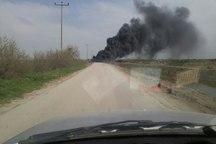 تعدادی لاستیک فرسوده و دپو در بندرترکمن آتش گرفت