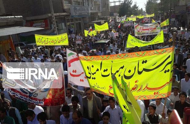حضور پرشور شیعه و سنی در راهپیمایی ۱۳ آبان درسی بزرگ به استکبار جهانی داد