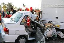 تصادف پراید با اتوبوس در قزوین یک کشته به جا گذاشت