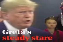 ثبت حالت چهره گرتا تونبرگ فعال محیط زیستی سوئدی هنگام دیدن ترامپ در سازمان ملل